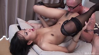 Asian with small tits, serious hard sex with a white dude