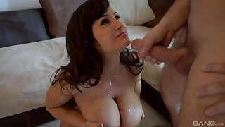 Lisa Ann adores when her friend cum on her tits after rough sex