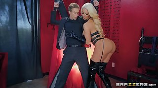 black latex on Nicolette Shea's body makes this dude hornier than ever