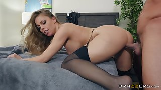 horny guy asks his maid Britney Amber to fuck with him in the room