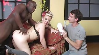 Candy Monroe makes her cuckold watch her being pounded by a black guy