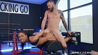 Skinny ebony tries distance off fuck at someone's skin gym on touching someone's skin trainer