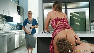 Big ass wife fucked hard almost the kitchen and made to go for
