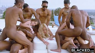 Teanna Trump, Adriana Chechik and Vicki Pursue are orgying during a vacation, nigh dark-hued men