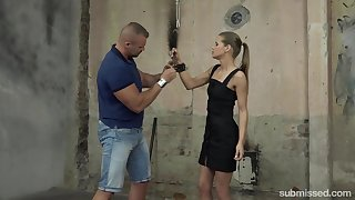Obedient Czech harpy Sarah Kay is handcuffed and treated rather hard
