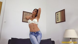 Julia De Lucia in white lingerie fucked good during casting